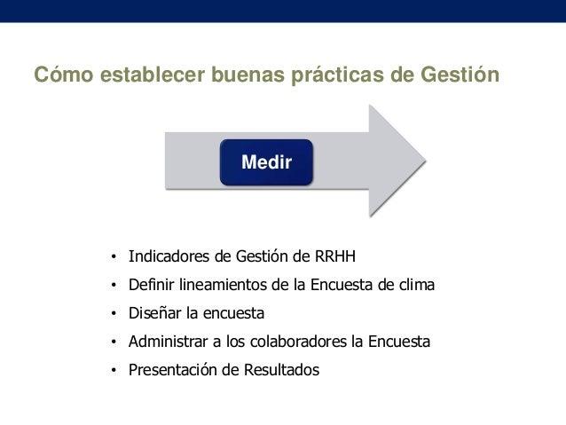 Cómo establecer buenas prácticas de Gestión  Medir  • Indicadores de Gestión de RRHH • Definir lineamientos de la Encuesta...