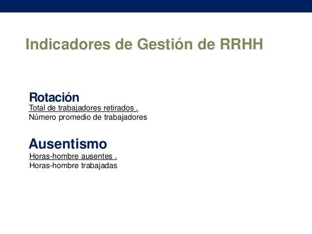 Indicadores de Gestión de RRHH  Rotación Total de trabajadores retirados . Número promedio de trabajadores  Ausentismo Hor...