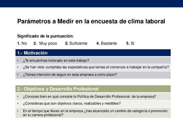 Parámetros a Medir en la encuesta de clima laboral Significado de la puntuación: 1. No  2. Muy poco  3. Suficiente  4. Bas...