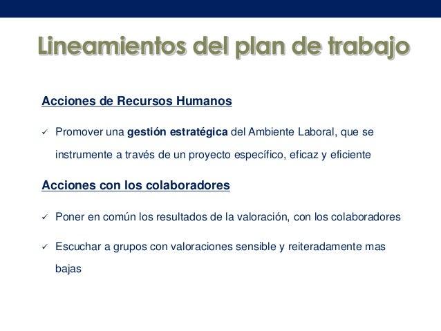 Lineamientos del plan de trabajo Acciones de Recursos Humanos   Promover una gestión estratégica del Ambiente Laboral, qu...