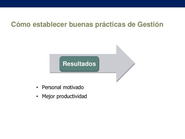 Cómo establecer buenas prácticas de Gestión  Resultados  • Personal motivado • Mejor productividad
