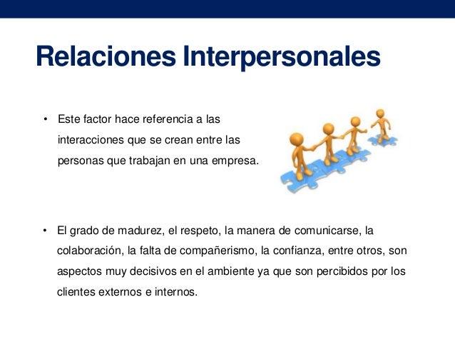 Relaciones Interpersonales • Este factor hace referencia a las interacciones que se crean entre las personas que trabajan ...