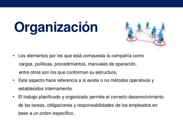 Organización • Los elementos por los que está compuesta la compañía como cargos, políticas, procedimientos, manuales de op...