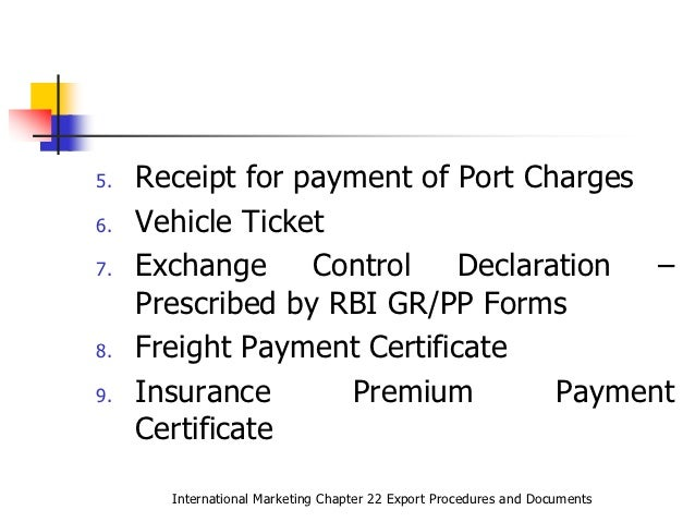 Export Procedures and Documents