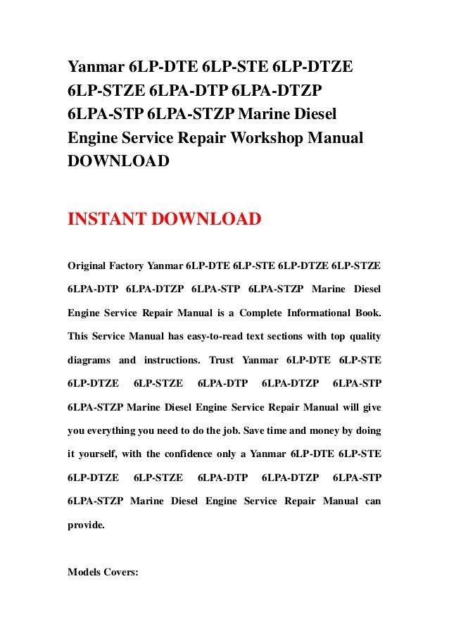 yanmar 6lpa stp service manual