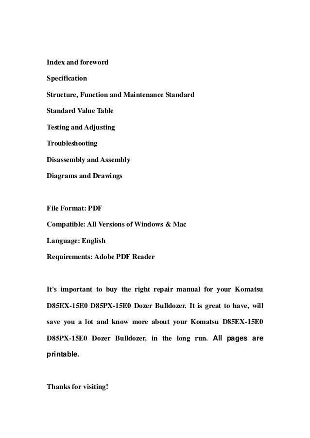 komatsu d85 ex-15 pdf
