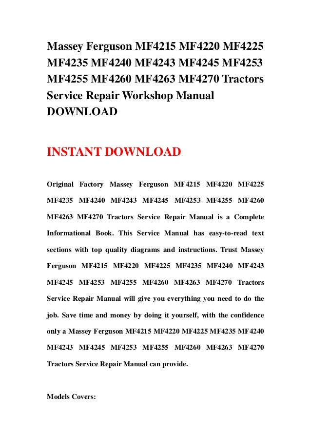Massey Ferguson 4245 Manual