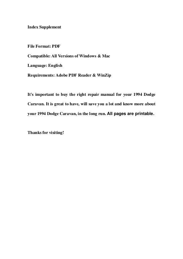 1994 dodge caravan service repair workshop manual download rh slideshare net grand caravan service manual grand caravan service manual