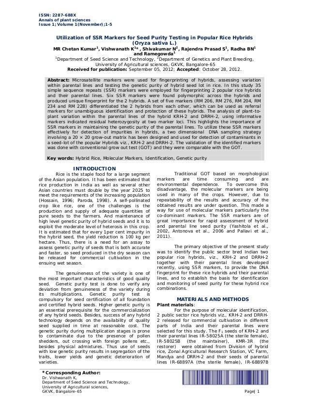 ISSN: 2287-688X Annals of plant sciences Issue 1; Volume 1(November);1-5 *Corresponding Author: Dr. Vishwanath K, Departme...