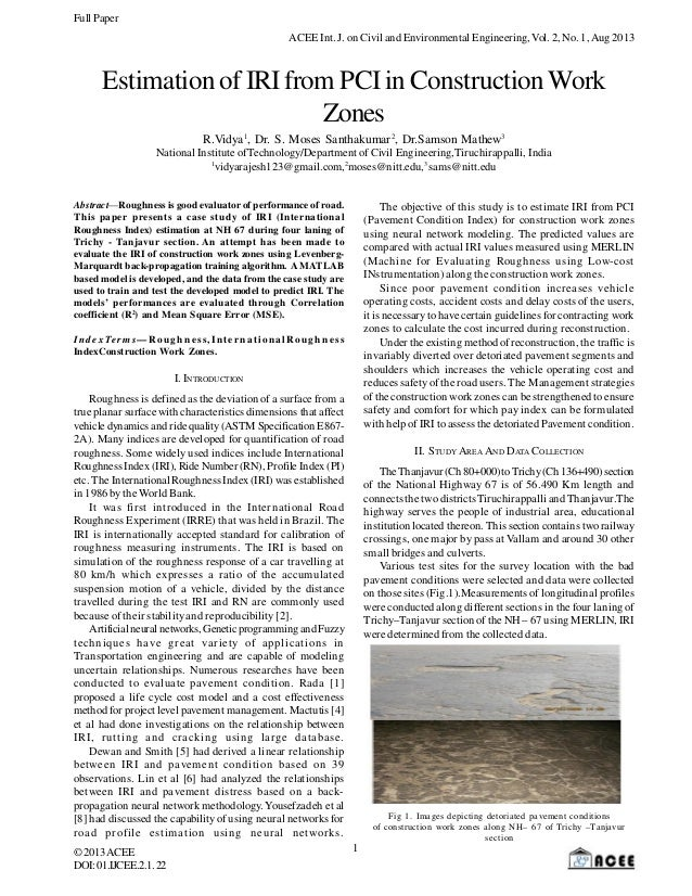 Full Paper ACEE Int. J. on Civil and Environmental Engineering, Vol. 2, No. 1, Aug 2013  Estimation of IRI from PCI in Con...