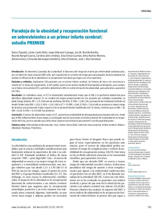 ORIGINAL  Paradoja de la obesidad y recuperación funcional en sobrevivientes a un primer infarto cerebral: estudio PREMIER...