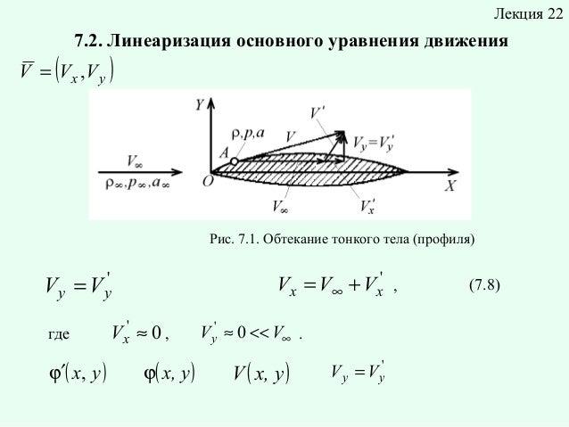 Лекция 22  (  7.2. Линеаризация основного уравнения движения  V = V x ,V y  )  Рис. 7.1. Обтекание тонкого тела (профиля) ...