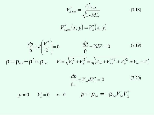 Vx′ сж =  Vx′ нсж 2 1- M∞  (7.18)  Vx′сж ( x, y ) = Vx′ ( x, y ) V 2  dp  + d  2 =0 ρ    ρ = ρ∞ + ρ′ ≈ ρ∞  dp + Vd...