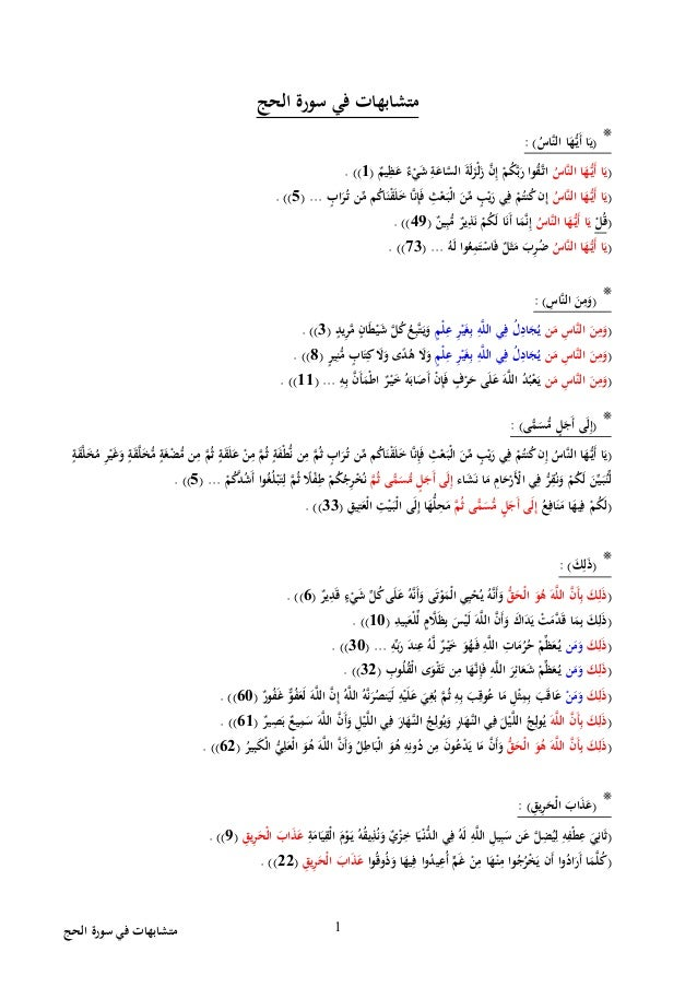 الحج سورة في متشابهات 1 الحج سورة في متشابهات *(َّاسنال اَهَُّيأ اَي: ) (َّاسنال ...