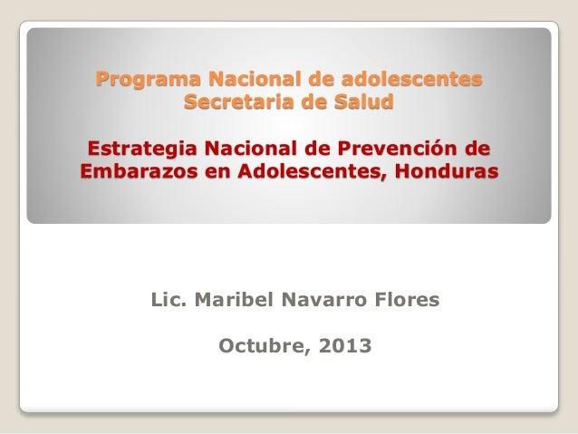 Programa Nacional de adolescentes Secretaria de Salud Estrategia Nacional de Prevención de Embarazos en Adolescentes, Hond...