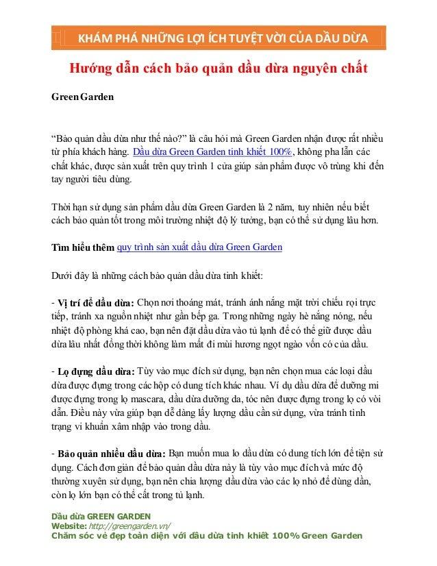 KHÁM PHÁ NHỮNG LỢI ÍCH TUYỆT VỜI CỦA DẦU DỪA Dầu dừa GREEN GARDEN Website: http://greengarden.vn/ Chăm sóc vẻ đẹp toàn diệ...