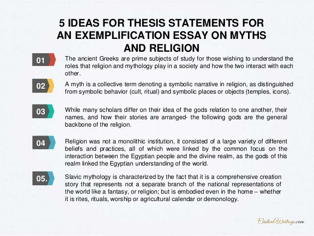 ... 5. 5 IDEAS FOR THESIS STATEMENTS FOR AN EXEMPLIFICATION ESSAY ON MYTHS  AND RELIGION ...