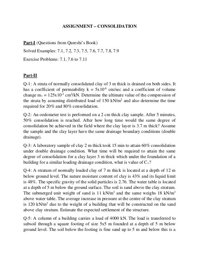 ASSIGNMENT – CONSOLIDATION Part-I (Questions from Qureshi's Book) Solved Examples: 7.1, 7.2, 7.3, 7.5, 7.6, 7.7, 7.8, 7.9 ...