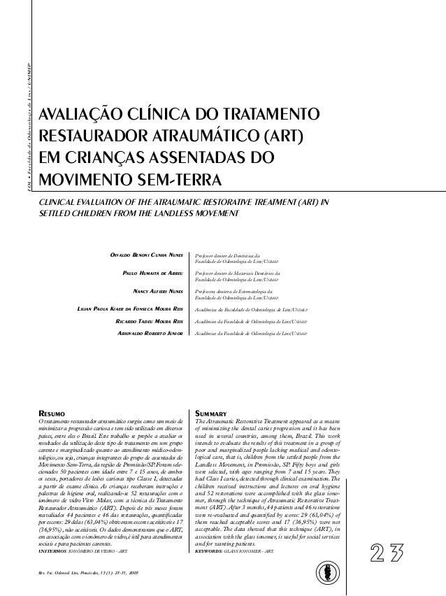 FOL•FaculdadedeOdontologiadeLins/UNIMEP2 3Rev. Fac. Odontol. Lins, Piracicaba, 15 (1): 23-31, 2003CLINICAL EVALUATION OF T...