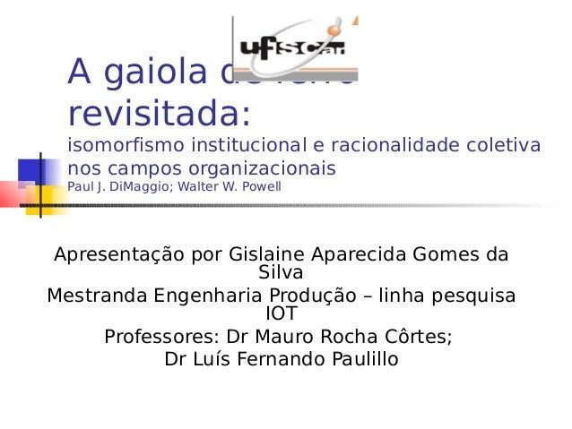 A gaiola de ferro revisitada: isomorfismo institucional e racionalidade coletiva nos campos organizacionais Paul J. DiMagg...
