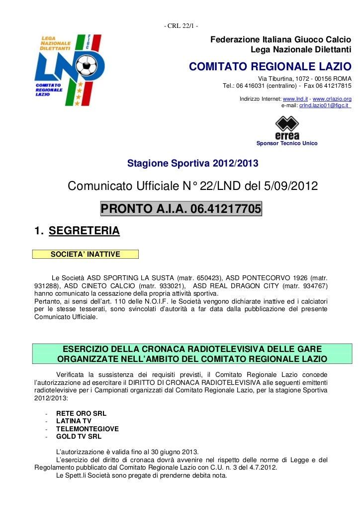 - CRL 22/1 -                                                             Federazione Italiana Giuoco Calcio               ...