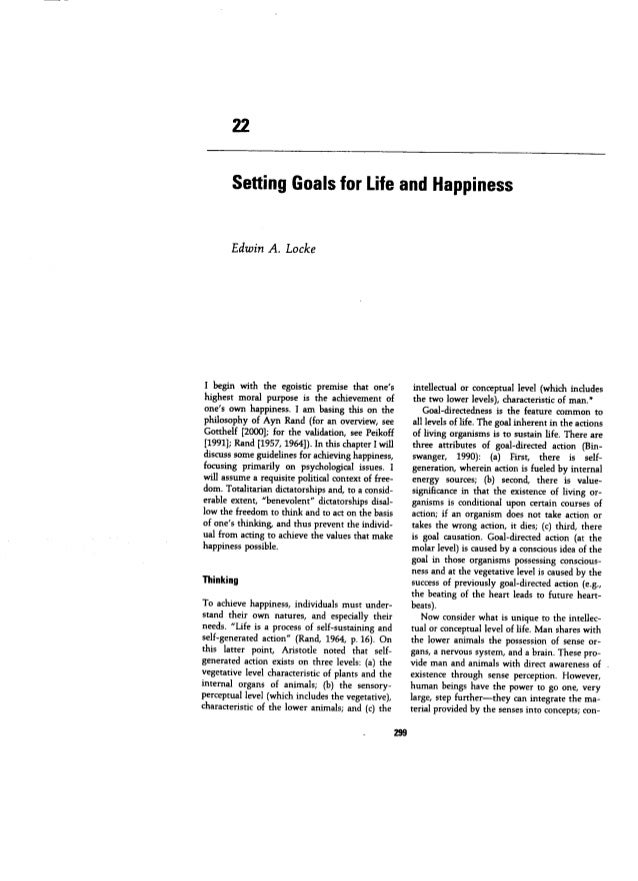 Setting goals for life and happines