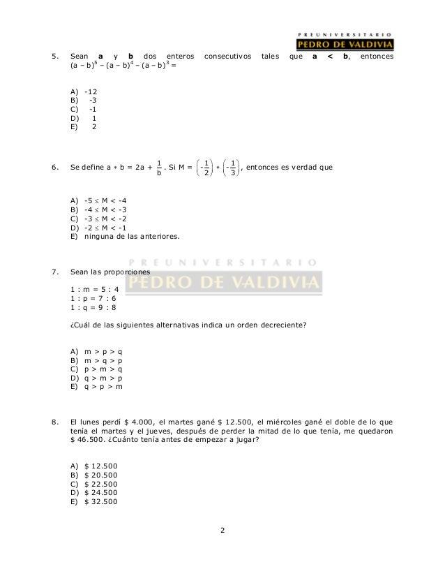 5. Sean a y b dos enteros consecutivos tales que a < b, entonces                 2  (a – b)5 – (a – b)4 – (a ...