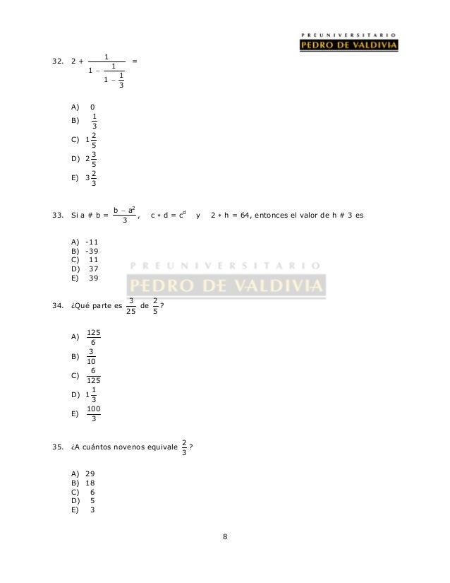  , c  d = cd y 2  h = 64, entonces el valor de h # 3 es  8  32. 2 + 1  1  1  1  1  3      =  A) 0  B) 1  3  C) 1 2  5...