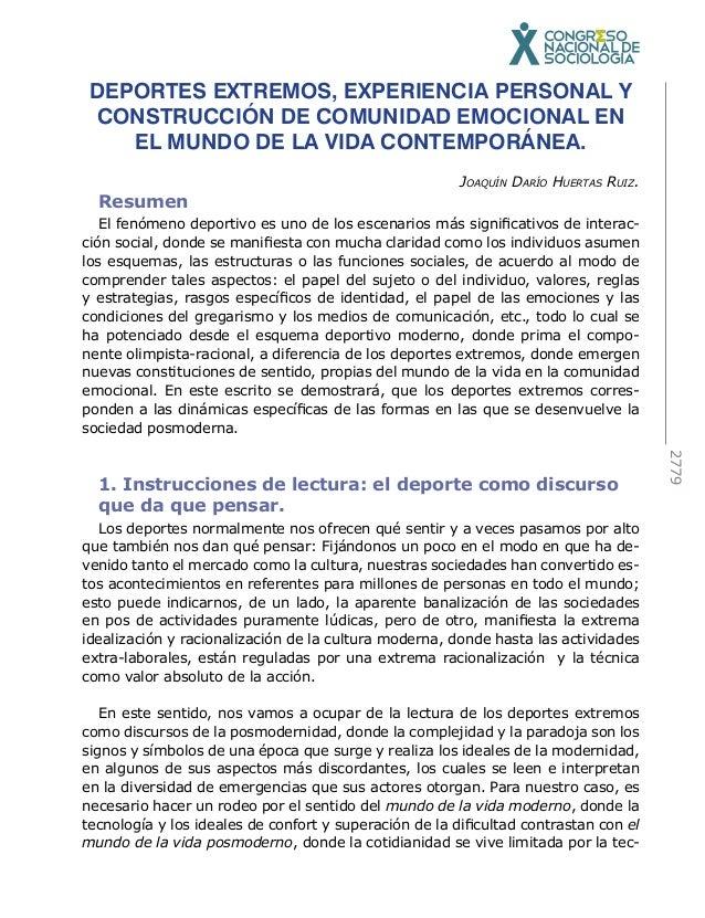 2779  DEPORTES EXTREMOS, EXPERIENCIA PERSONAL Y  CONSTRUCCIÓN DE COMUNIDAD EMOCIONAL EN  EL MUNDO DE LA VIDA CONTEMPORÁNEA...