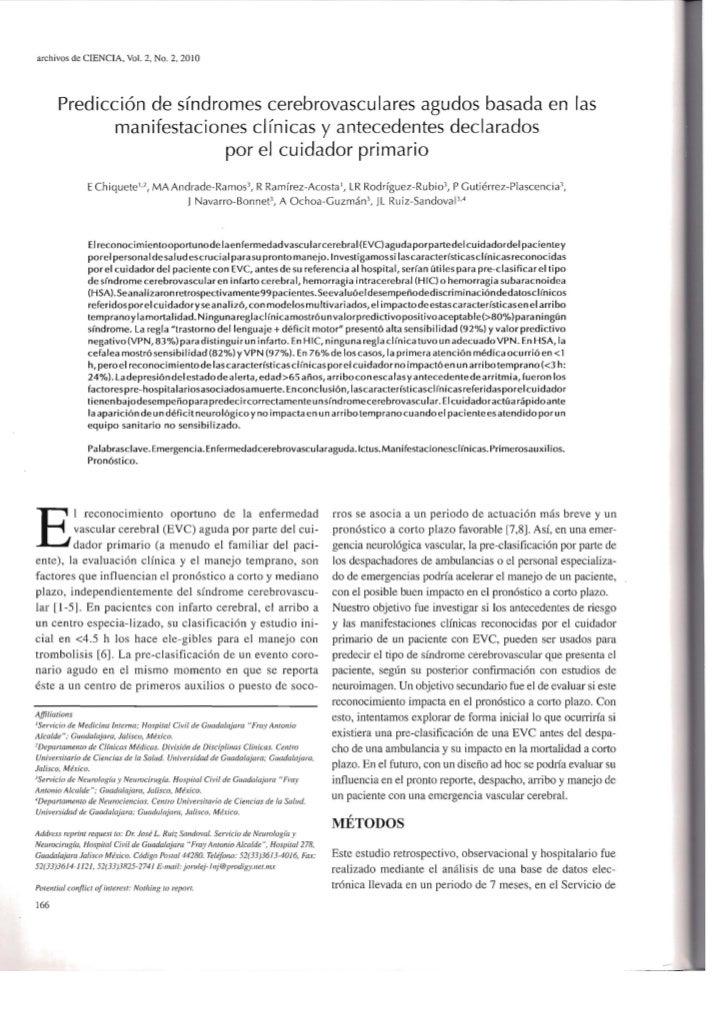archivos de CrENCIA, Vol. 2, No.2, 2010       Predicci6n de sfndromes cerebrovascu lares agudos basada en las             ...