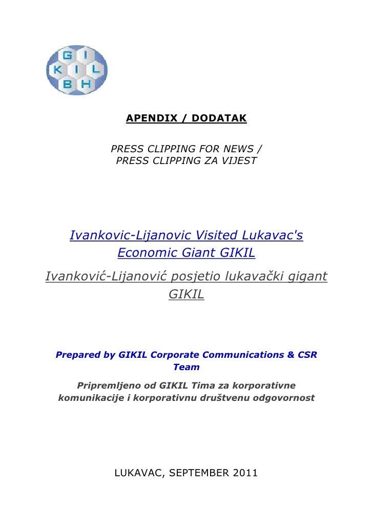 <ul><li>lefttop</li></ul>APENDIX / DODATAK<br />PRESS CLIPPING FOR NEWS /<br />PRESS CLIPPING ZA VIJEST <br />Ivankovic-Li...