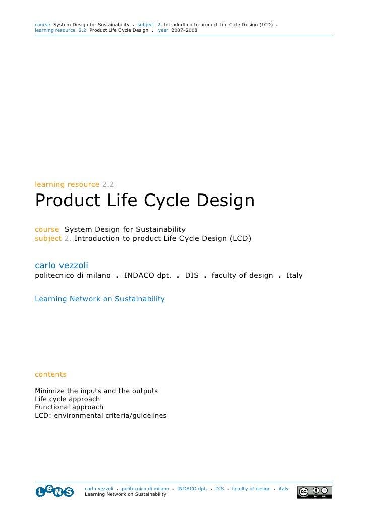 course System Design for Sustainability . subject 2. Introduction to product Life Cicle Design (LCD) . learning resource 2...