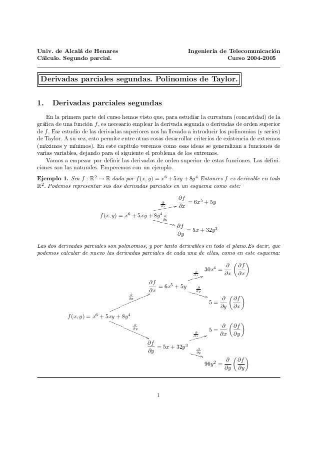 Univ. de Alcal´a de Henares Ingenier´ıa de Telecomunicaci´on C´alculo. Segundo parcial. Curso 2004-2005 Derivadas parciale...