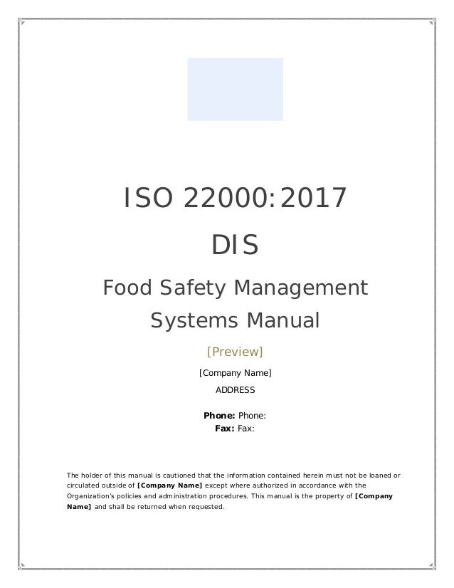 ISO 22000:2018 FSMS manual template (preview)