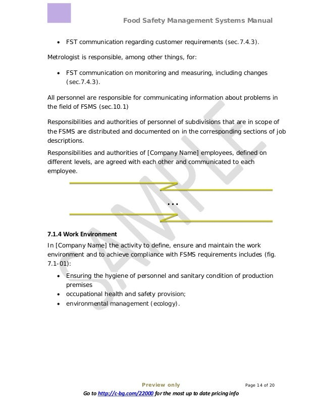 Food Safety Management Systems Manual Preview only Page 14 of 20 Go to http://c-bg.com/22000 for the most up to date prici...