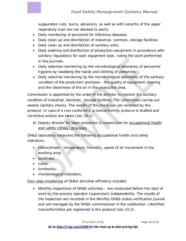 Food Safety Management Systems Manual Preview only Page 16 of 20 Go to http://c-bg.com/22000 for the most up to date prici...
