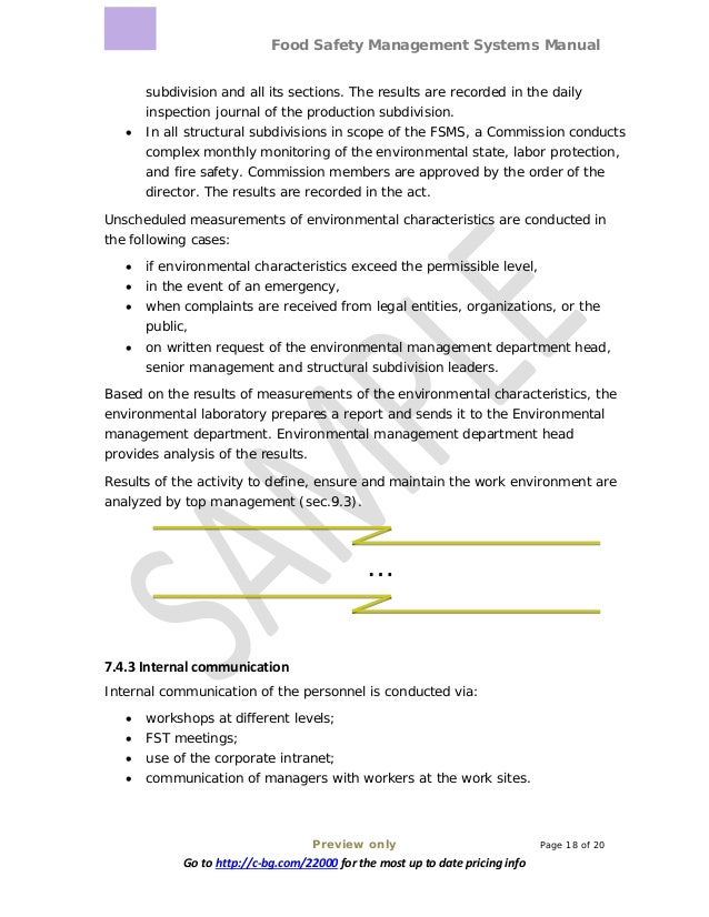 Food Safety Management Systems Manual Preview only Page 18 of 20 Go to http://c-bg.com/22000 for the most up to date prici...