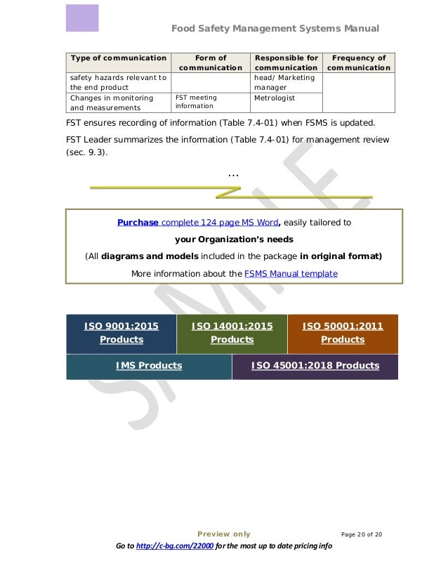Food Safety Management Systems Manual Preview only Page 20 of 20 Go to http://c-bg.com/22000 for the most up to date prici...
