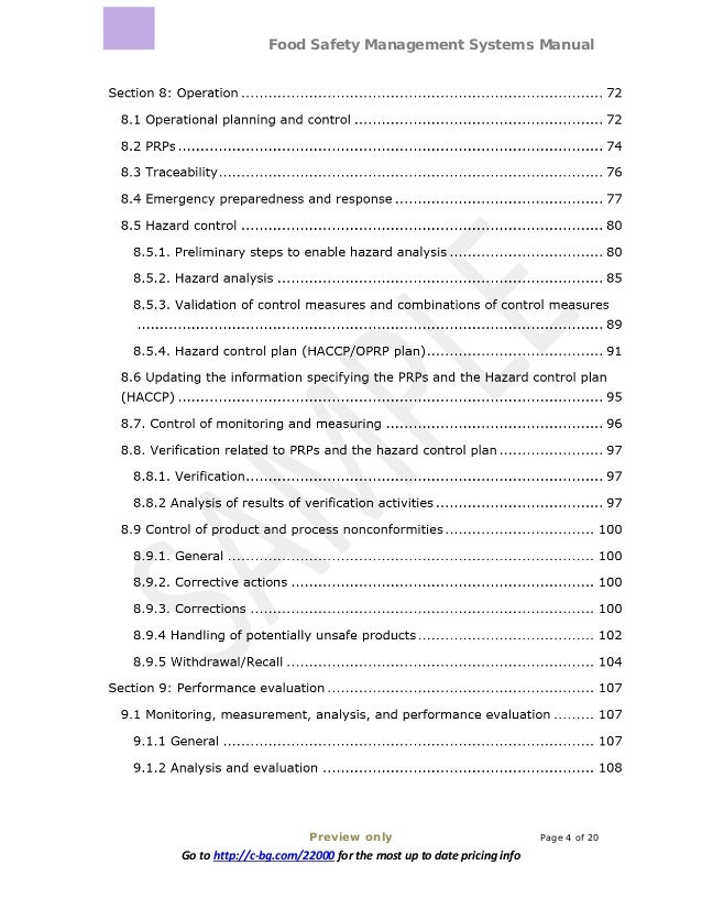 Food Safety Management Systems Manual Preview only Page 4 of 20 Go to http://c-bg.com/22000 for the most up to date pricin...