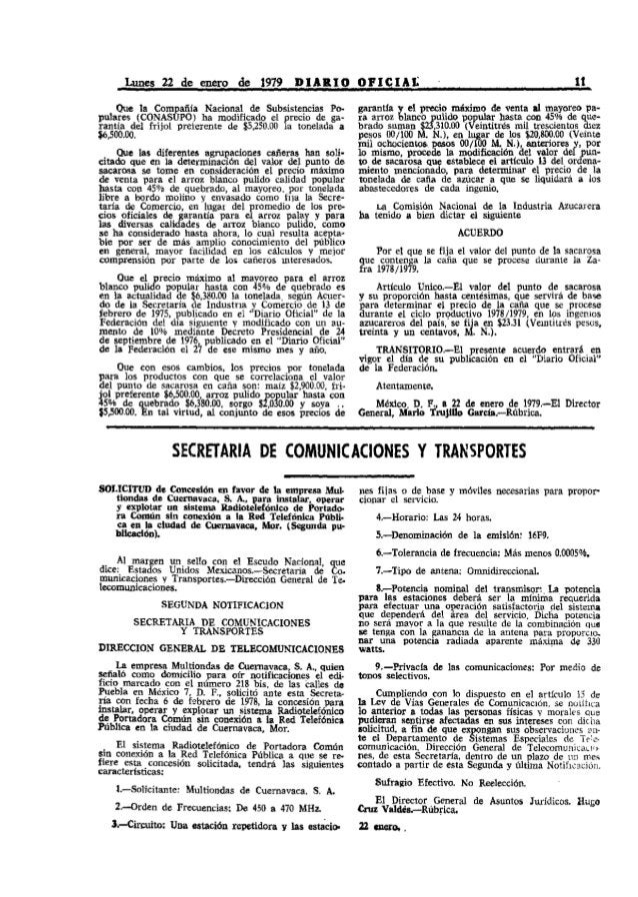 Lunes 22 de enero de 1979 DIARIO OPICIAt                                                                11     Que la Comp...