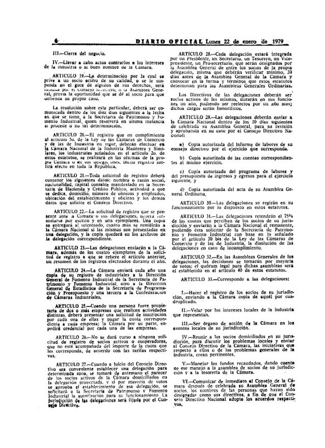 l ,                                      D J A III O O F 1 e 1 A: L Lunes 22 de enero...de 1979=-      •      III.-Cierre ...