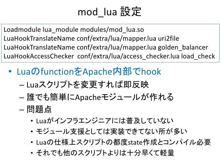 mod_lua 設定Loadmodule lua_module modules/mod_lua.soLuaHookTranslateName conf/extra/lua/mapper.lua uri2fileLuaHookTranslateN...