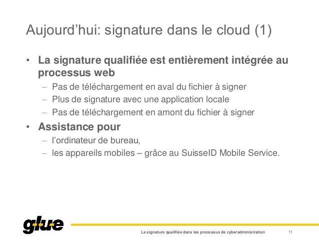 Aujourd'hui: signature dans le cloud (1) La signature qualifiée dans les processus de cyberadministration 11 • La signatur...