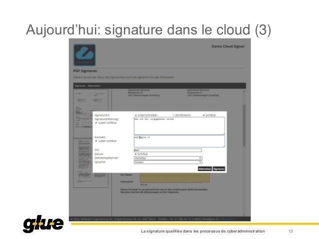 Aujourd'hui: signature dans le cloud (3) La signature qualifiée dans les processus de cyberadministration 13