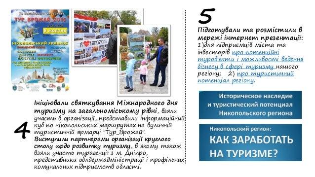 Ініціювали святкування Міжнародного дня туризму на загальноміському рівні, взяли участь в організації, представили інформа...