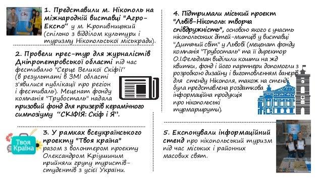 """1. Представили м. Нікополь на міжнародній виставці """"Агро- Експо"""" у м. Кропивницький (спільно з відділом культури і туризму..."""