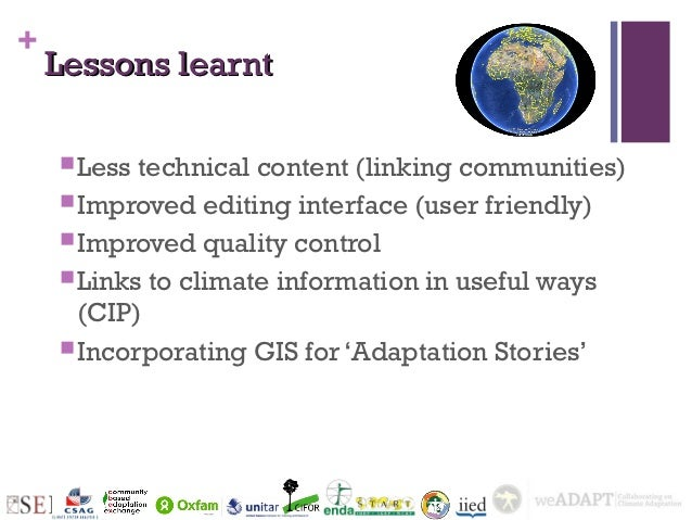 +    Lessons learnt     Less technical content (linking communities)     Improved editing interface (user friendly)    ...