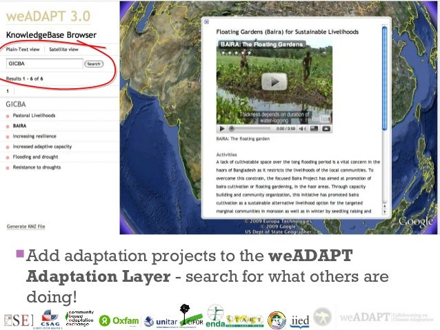 + Add   adaptation projects to the weADAPT    Adaptation Layer - search for what others are    doing!