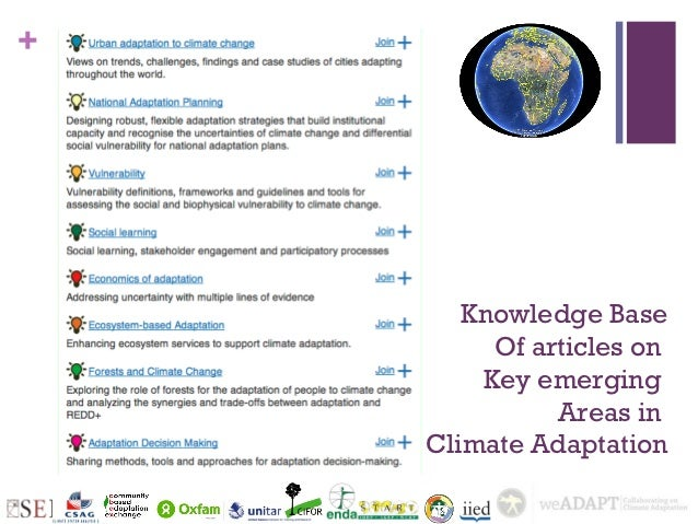 +       Knowledge Base         Of articles on        Key emerging              Areas in    Climate Adaptation