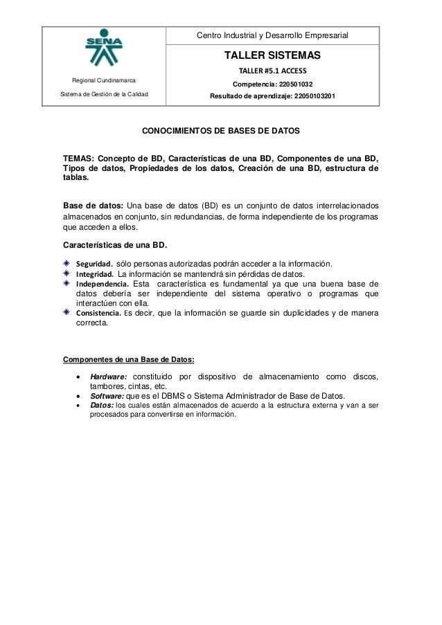 Regional Cundinamarca Sistema de Gestión de la Calidad Centro Industrial y Desarrollo Empresarial TALLER SISTEMAS TALLER #...